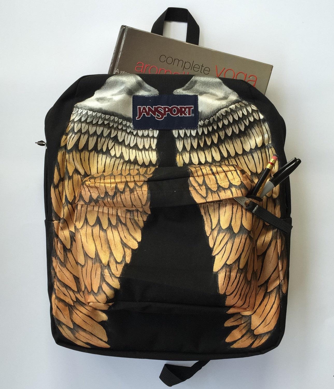 Hand Painted Metallic Wings Custom Jansport Backpack |