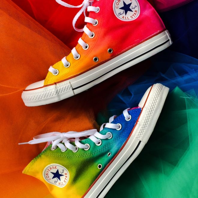 Rainbow High Top Converse – Intellexual