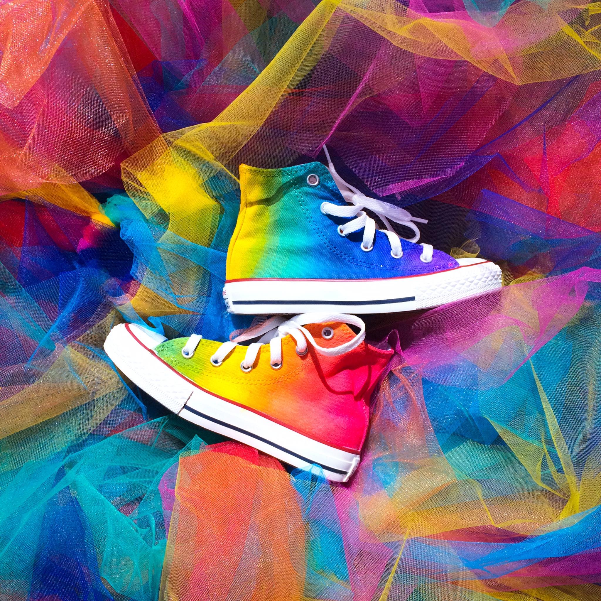 Kids Rainbow Tie Dye Converse