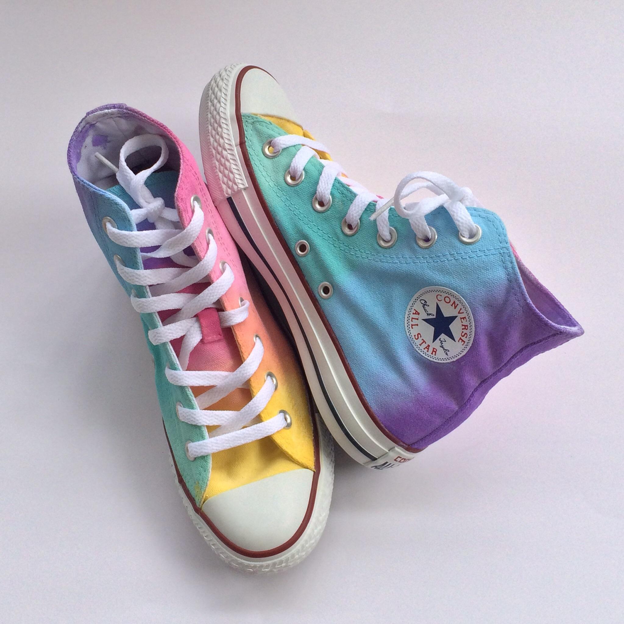 67a6baa61265 Pastel Rainbow High Top Converse