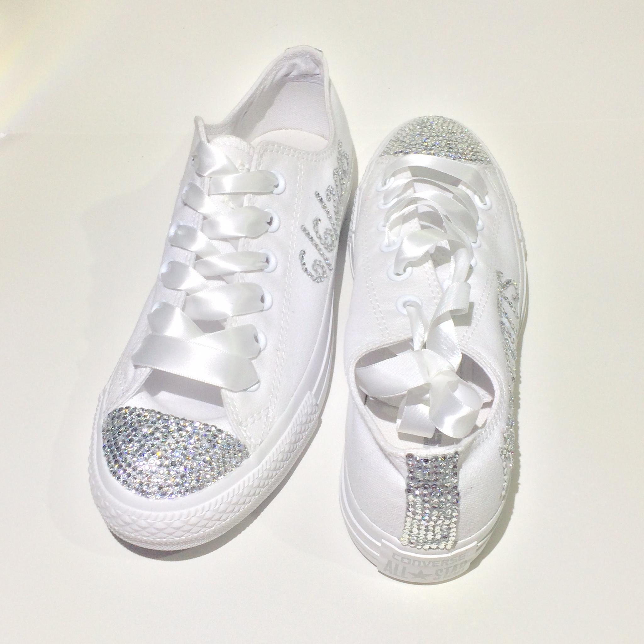 67402e04e06 Bride Monochrome White Rhinestone Converse