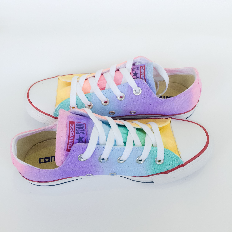 8df15bd8c239 Pastel Rainbow Low Top Converse
