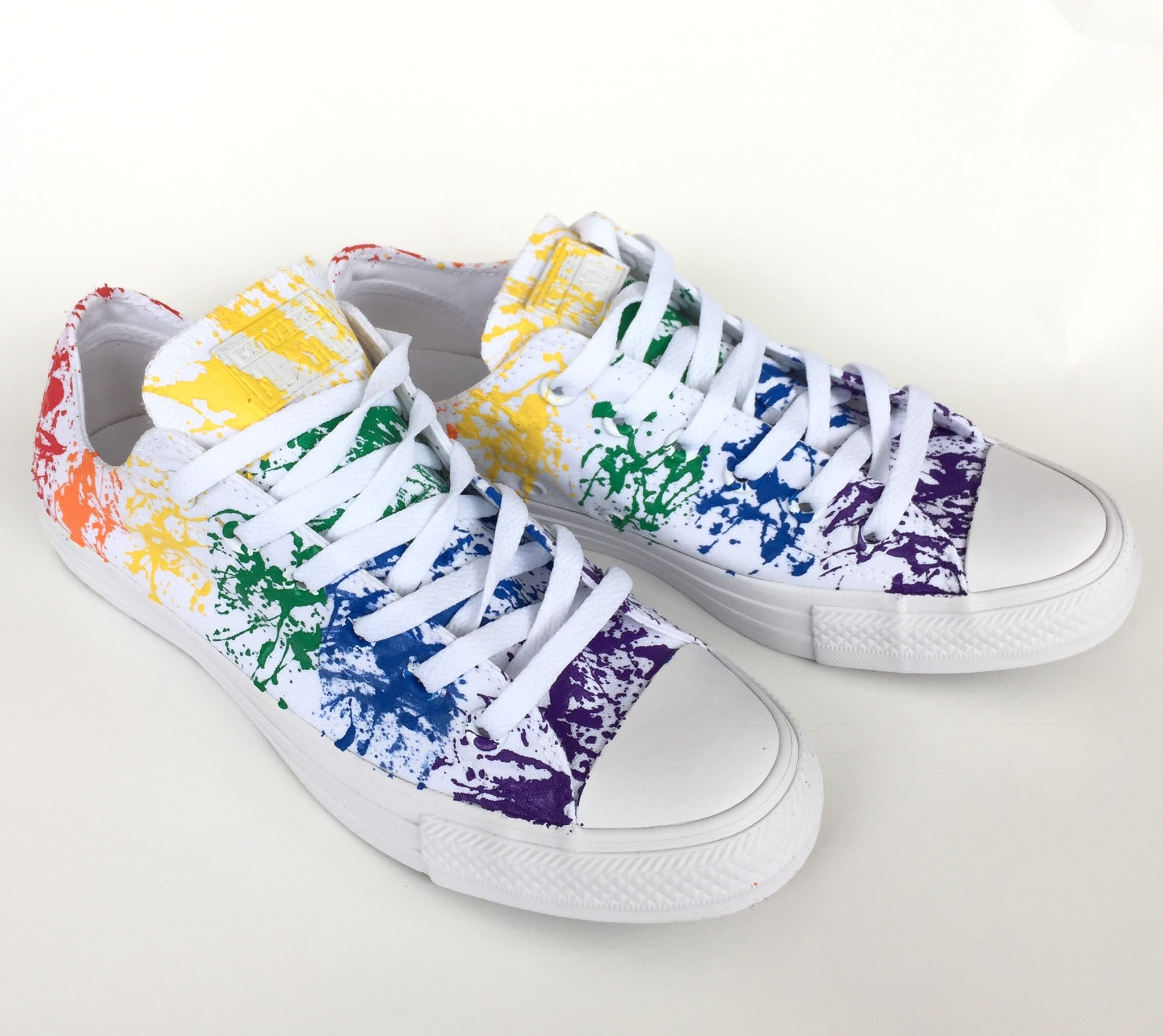 4c19624b38fd19 Gay Pride Rainbow Paint Splatter Monochrome White Converse ...